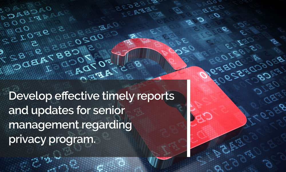 Develop effective timely reports and updates for senior management regarding privacy program