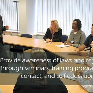 Provide awareness of laws and regulations through seminars