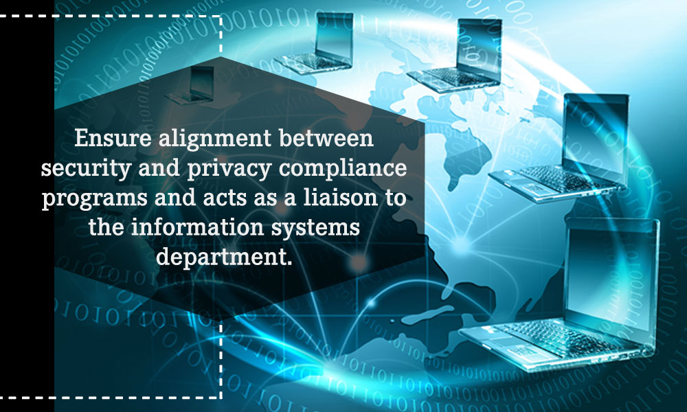 Ensure alignment between security and privacy compliance programs and acts as a liaison to the information systems department